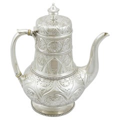 Antique Victorian 1867 Sterling Silver Coffee Pot by John Hunt & Robert Roskell