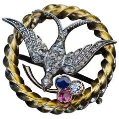 Antique Victorian, 1870s Jeweled Bird Brooch Pin
