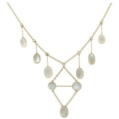 Antique Victorian 1880s 23.40 Carat Moonstone Yellow Gold Necklace