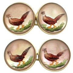 Antique Victorian 1880s Essex Crystal and Yellow Gold 'Pheasant' Cufflinks