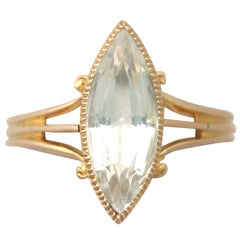 Antique Victorian 1890s 2.33 Carat Aquamarine and Yellow Gold Cocktail Ring