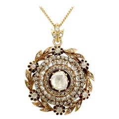 Antique Victorian 1890s 2.95 Carat Diamond and Yellow Gold Pendant