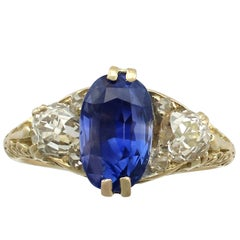 Antique Victorian 1890s 3.11 Carat Sapphire Diamond Yellow Gold Trilogy Ring