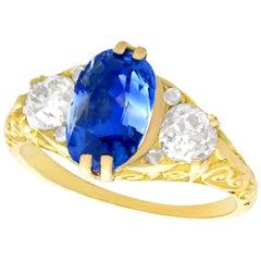 Antique Victorian 1890s 3.11 Carat Sapphire Diamond Yellow Gold Trilogy Ring