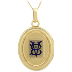 Antique Victorian 1890s Blue Enamel and Yellow Gold Locket