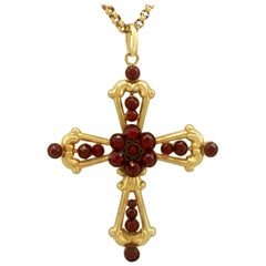 Antique Victorian 1890s Garnet Yellow Gold Cross Pendant