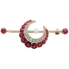 Antique Victorian 1890s Ruby Diamond Pearl Yellow Gold Crescent Bar Brooch
