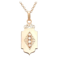 Antique Victorian 1890s Seed Pearl and Rose Gold Locket