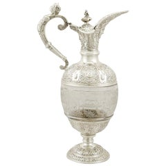 Antique Victorian 1890s Sterling Silver and Glass Claret Jug by Carrington & Co.