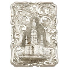 Antique Victorian 1890s Sterling Silver Card Case by Nathanial Mills