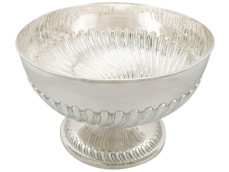 A magnificent, fine and impressive, large antique Victorian English sterling silver presentation bowl; an addition to our ornamental silverware collection.
