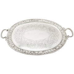 Antique Victorian 1894 Sterling Silver Tea Tray by Mappin & Webb Ltd