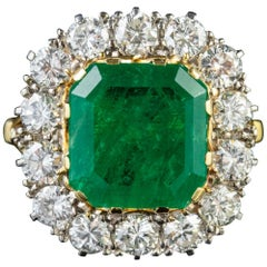 Antique Victorian 18ct Gold 4.50ct circa 1900 Emerald Diamond Cluster Ring