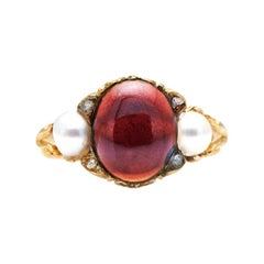 Antique, Victorian, 18ct Gold, Cabochon Garnet and Natural Pearl Ring
