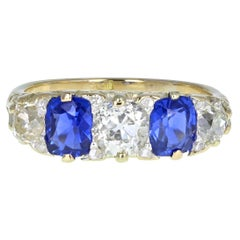 Antique Victorian 18Ct Gold Kashmir Unheated Sapphire Diamond Carved Gallery Set