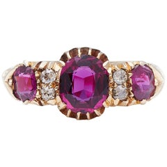 Antique Victorian, 18 Carat Gold, Natural Ruby and Diamond Half Hoop Ring