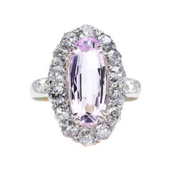 Antique, Victorian, 18ct Gold, Pink Topaz and Diamond Cluster Ring