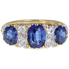 Antique Victorian 18ct Gold Platinum Blue Sapphire Diamond Carved Gallery Set Ri