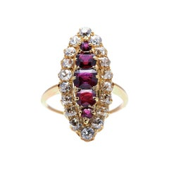 Antique, Victorian, 18ct Gold, Ruby and Diamond Navette Cluster Ring