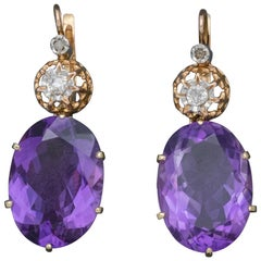 Antique Victorian 18ct Rose Gold Amethyst Earrings 16ct of Amethyst, circa 1900