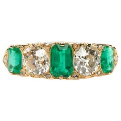 Antique, Victorian, 18 Carat Yellow Gold, Emerald and Diamond Five-Stone Ring