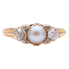 Antique Victorian 18 Carat Yellow Gold, Natural Pearl and Diamond Half Hoop Ring