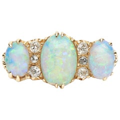 Antique, Victorian, 18ct Yellow Gold, Opal and Diamond Three-Stone Carved Ring