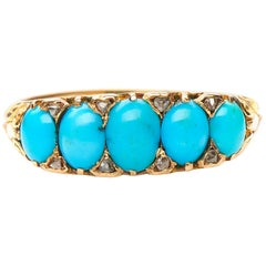 Antique, Victorian, 18 Carat Yellow Gold, Turquoise and Diamond Half Hoop Ring