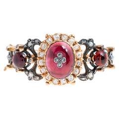 Antique Victorian 18 Karat Bohemian Garnet and Diamond Bangle Bracelet