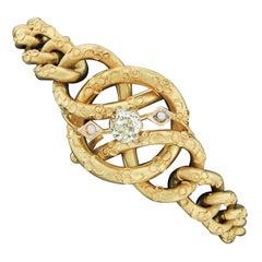 Antique Victorian 18k Gold 0.76ct GIA Mine Cut Diamond Curb Link Chain Bracelet
