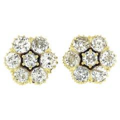 Antique Victorian 18k Gold 2.38ctw Old Diamond Flower Cluster Stud Earrings