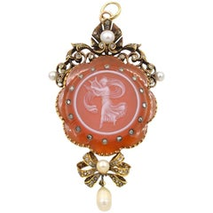 Antique Victorian 18K Gold Carved Agate Cameo Pendant with Pearls and Diamonds