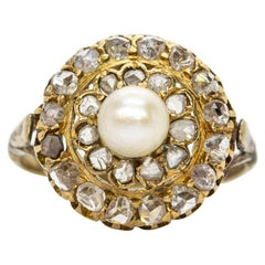 Antique Victorian 18 Karat Gold Pearl and Diamonds Ring