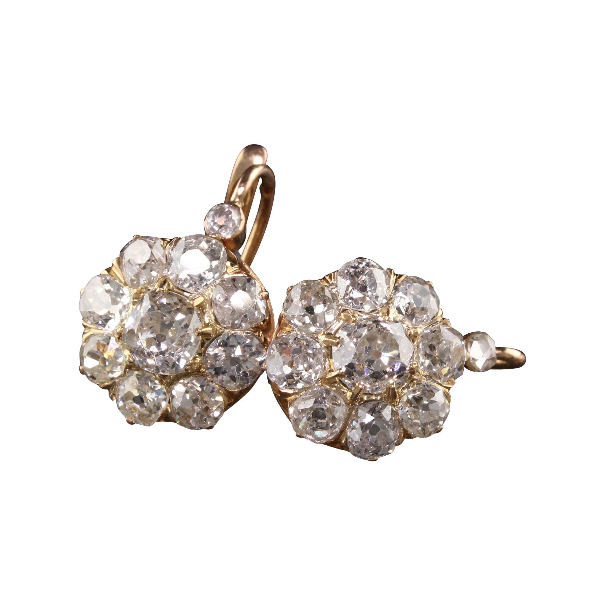 Antique Victorian 18k Rose Gold Old Mine Cut Diamond Cluster Earrings