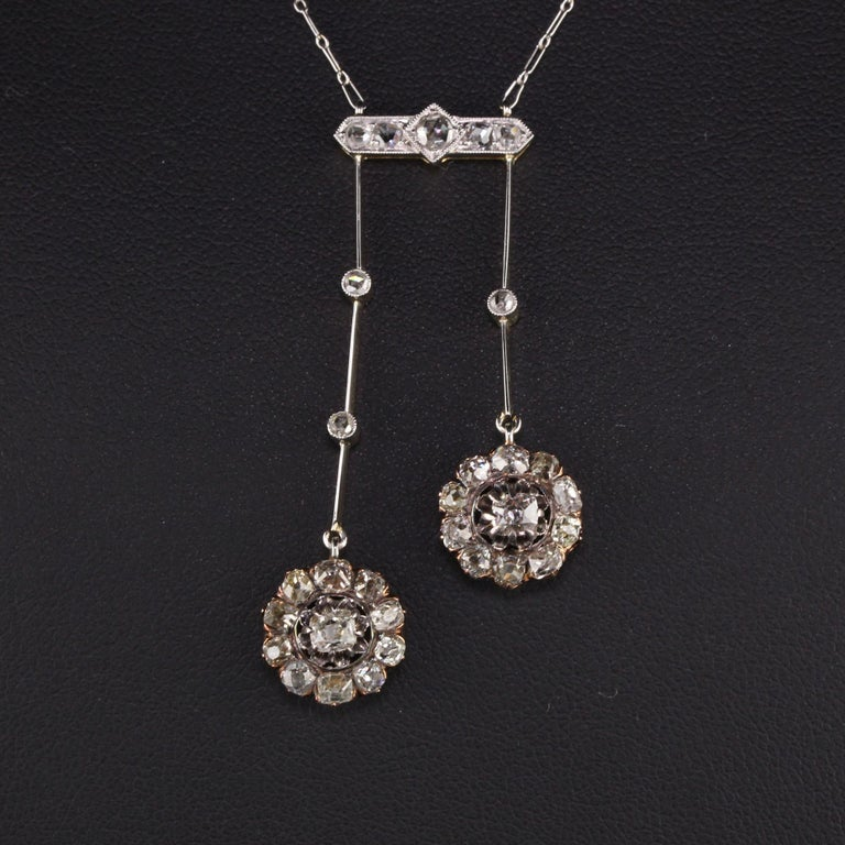 Antique Victorian 18 Karat Rose Gold Old Mine Cut Diamond Necklace In Good Condition For Sale In Great Neck, NY