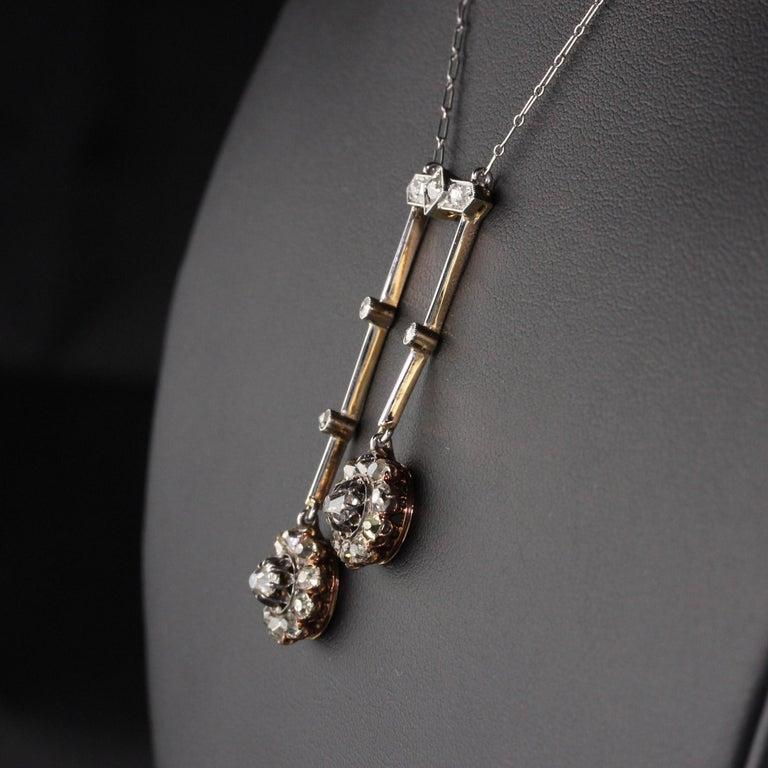 Women's Antique Victorian 18 Karat Rose Gold Old Mine Cut Diamond Necklace For Sale