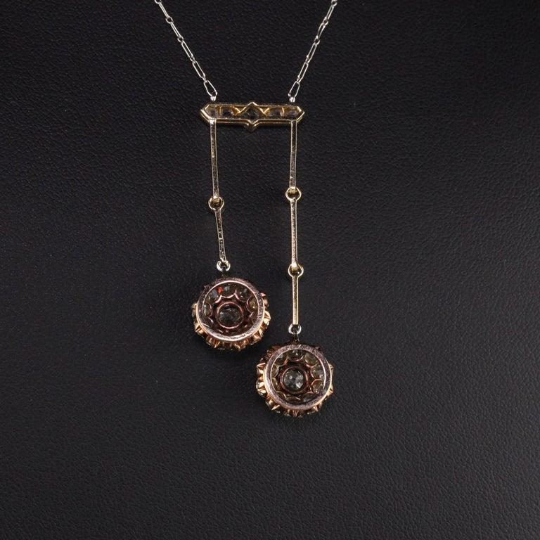 Antique Victorian 18 Karat Rose Gold Old Mine Cut Diamond Necklace For Sale 1