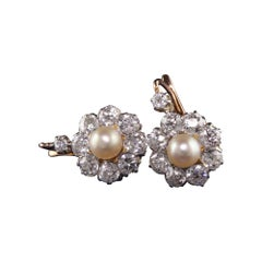 Antique Victorian 18k Rose Gold Platinum Top Old Mine Diamond and Pearl Earrings