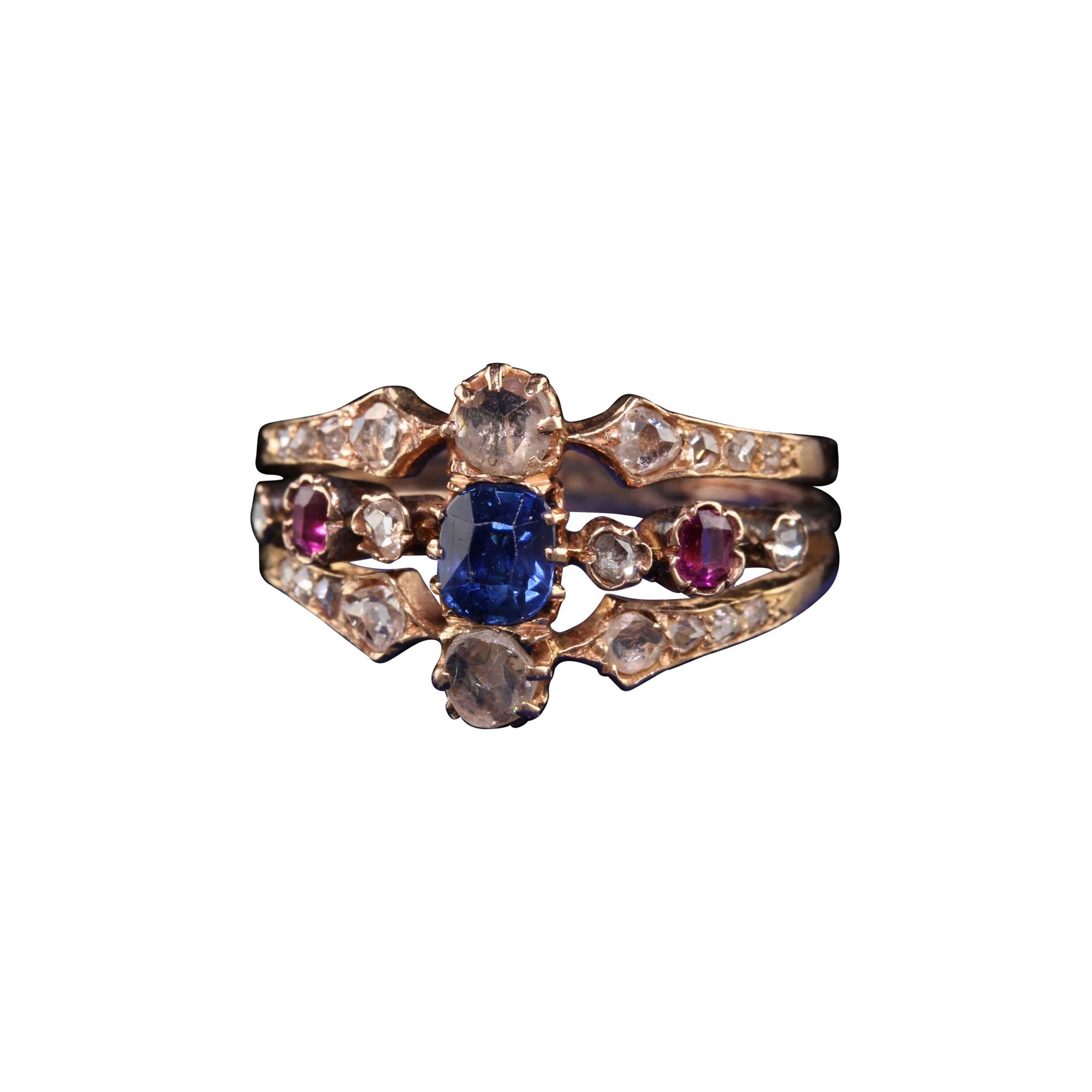 Antique Victorian 18k Rose Gold Rose Cut Diamond Sapphire and Ruby Ring