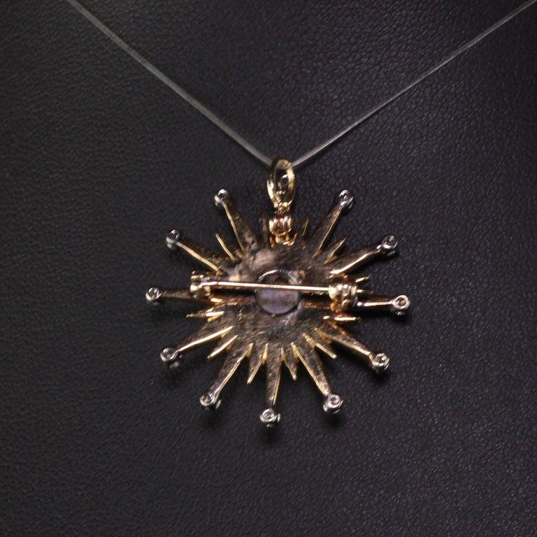 Victorian Vintage 18 Karat Yellow Gold Black Opal and Diamond Star Burst Pin Pendant For Sale