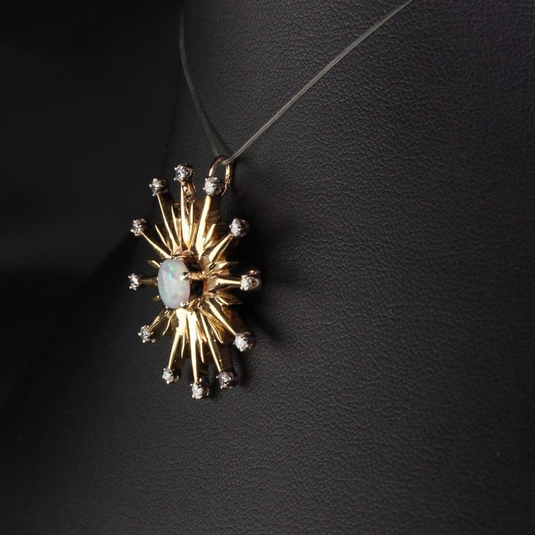 Old Mine Cut Vintage 18 Karat Yellow Gold Black Opal and Diamond Star Burst Pin Pendant For Sale