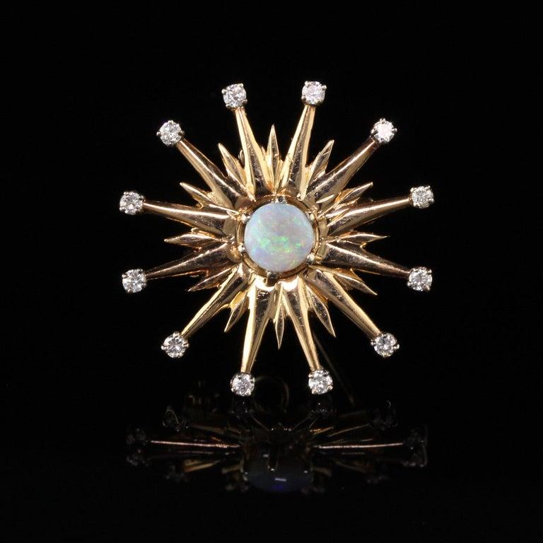 Vintage 18 Karat Yellow Gold Black Opal and Diamond Star Burst Pin Pendant For Sale 1