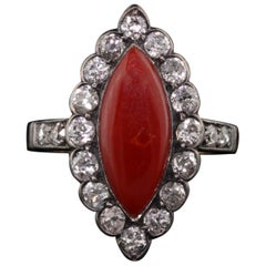 Antique Victorian 18 Karat Yellow Gold Coral and Diamond Navette Ring