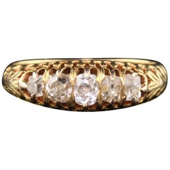 Antique Victorian 18 Karat Yellow Gold Diamond Half Hoop Ring