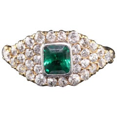 Antique Victorian 18 Karat Yellow Gold Emerald and Diamond Ring