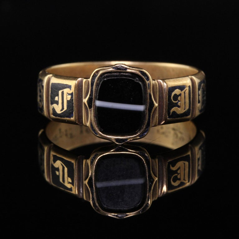 Uncut Antique Victorian 18 Karat Yellow Gold Enamel and Onyx Engraved Ring For Sale