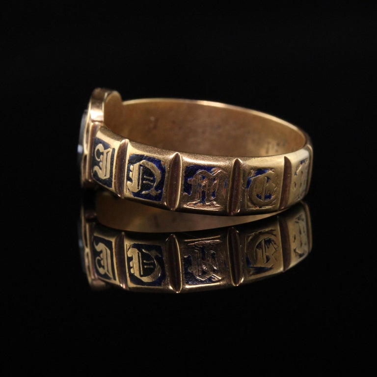 Women's Antique Victorian 18 Karat Yellow Gold Enamel and Onyx Engraved Ring For Sale