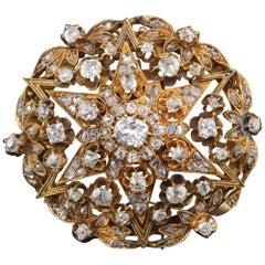Antique Victorian 18 Karat Yellow Gold and Old Cut Diamond Brooch