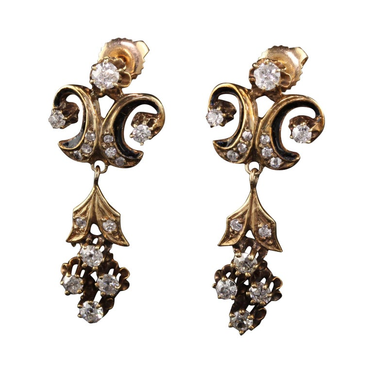 Gift For Her I.J 34 Gold Brass Victorian Earrings,Victorian Style Statement Earrings with Onyx Crystal,Dangle Earring Vintage Earring