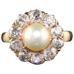 Antique Victorian 18 Karat Yellow Gold Pearl and Diamond Cluster Ring